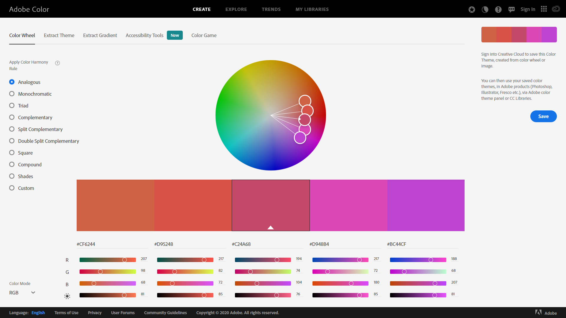 Adobe Color Screenshot